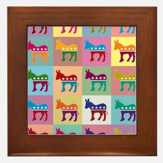 Pop Art Democrat Donkey Logo Framed Tile