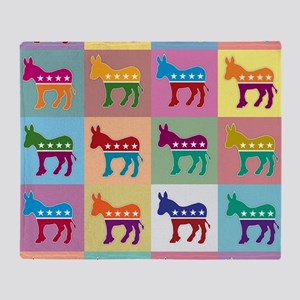 Pop Art Democrat Donkey Logo Throw Blanket