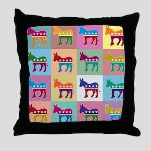 Pop Art Democrat Donkey Logo Throw Pillow