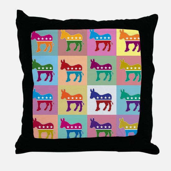 Pop Art Democrat Donkey Logo Throw Pillow