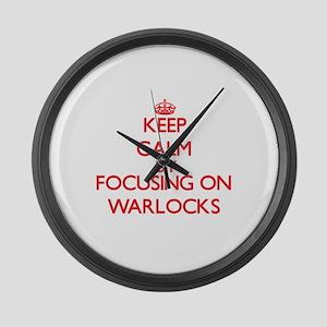 Keep Calm by focusing on Warlocks Large Wall Clock