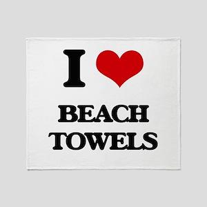 I Love Beach Towels Throw Blanket