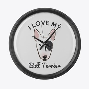 I Love My Bull Terrier Large Wall Clock