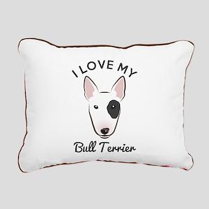 I Love My Bull Terrier Rectangular Canvas Pillow