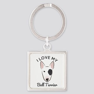 I Love My Bull Terrier Square Keychain