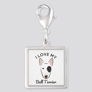 I Love My Bull Terrier Silver Square Charm