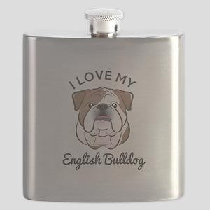I Love My English Bulldog Flask