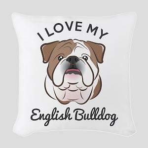 I Love My English Bulldog Woven Throw Pillow