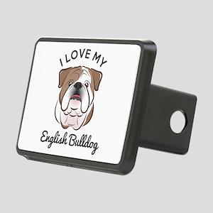 I Love My English Bulldog Rectangular Hitch Cover