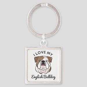 I Love My English Bulldog Square Keychain