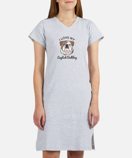 I Love My English Bulldog Women's Nightshirt