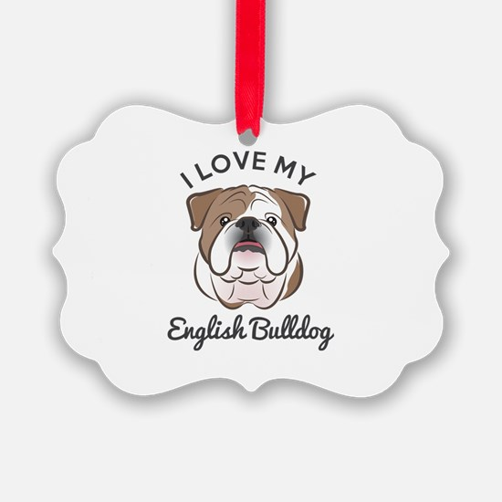 I Love My English Bulldog Ornament