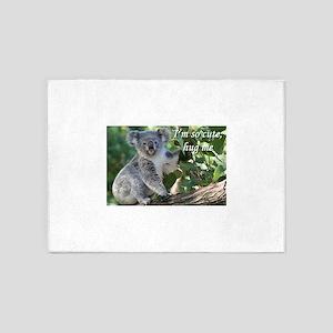 I'm so cute, hug me: koala. 5'x7'Area Rug