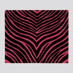 Zebra Pink and Black Throw Blanket