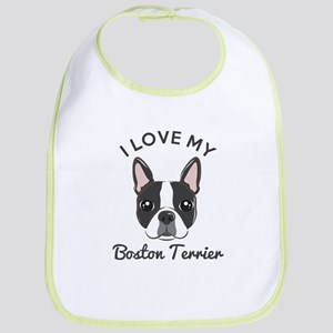 I Love My Boston Terrier Bib