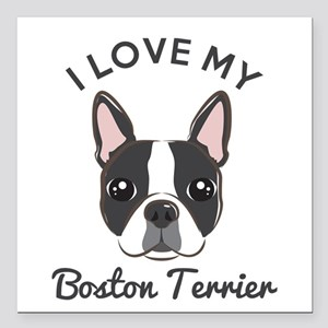 "I Love My Boston Terrier Square Car Magnet 3"" x 3"""