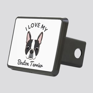 I Love My Boston Terrier Rectangular Hitch Cover