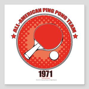 "Forrest Gump Ping Pong Square Car Magnet 3"" X"