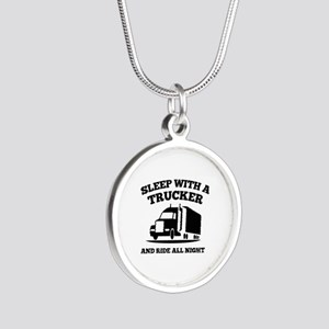 Sleep With A Trucker Silver Round Necklace