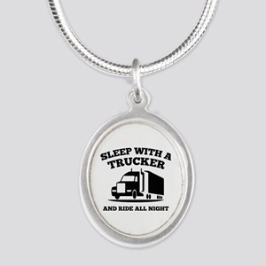 Sleep With A Trucker Silver Oval Necklace