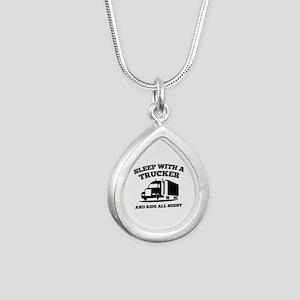 Sleep With A Trucker Silver Teardrop Necklace
