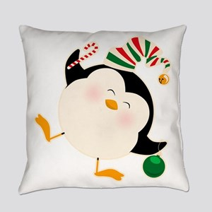Happy Christmas Penguin Everyday Pillow