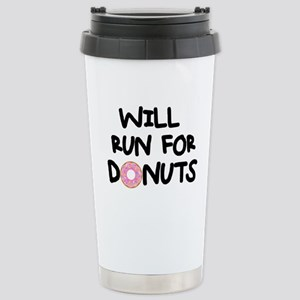 Will Run for Donuts Stainless Steel Travel Mug