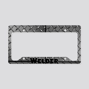 Welder Diamond Plate License Plate Holder