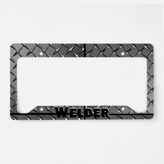 Welder Diamond Plate License Plate Holder