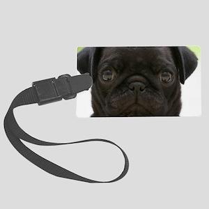 Black Pug Large Luggage Tag