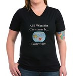 Christmas Goldfish Women's V-Neck Dark T-Shirt