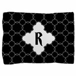 MONOGRAM Black White Quatrefoil Pattern Pillow Sha