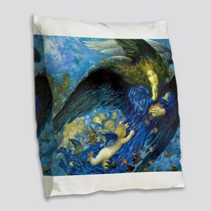 Angel with Putti Burlap Throw Pillow