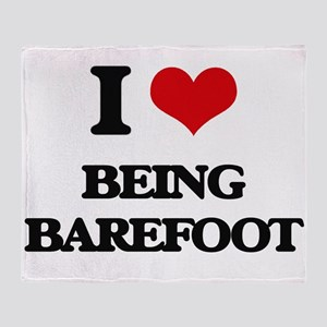 I Love Being Barefoot Throw Blanket