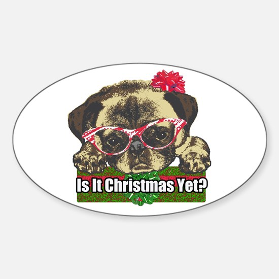 Is it Christmas yet pug Sticker (Oval)
