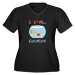 I Love Goldf Women's Plus Size V-Neck Dark T-Shirt