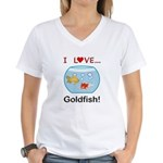 I Love Goldfish Women's V-Neck T-Shirt