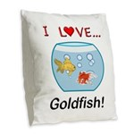 I Love Goldfish Burlap Throw Pillow