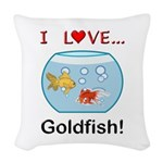 I Love Goldfish Woven Throw Pillow