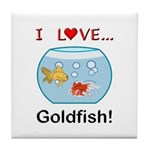 I Love Goldfish Tile Coaster