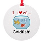 I Love Goldfish Round Ornament