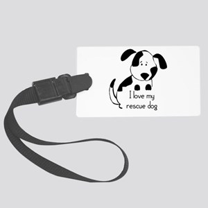 I love my rescue Dog Pet Humor Quote Large Luggage
