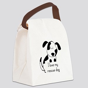 I love my rescue Dog Pet Humor Quote Canvas Lunch