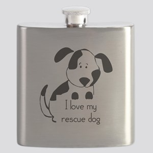 I love my rescue Dog Pet Humor Quote Flask