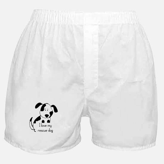 I love my rescue Dog Pet Humor Quote Boxer Shorts