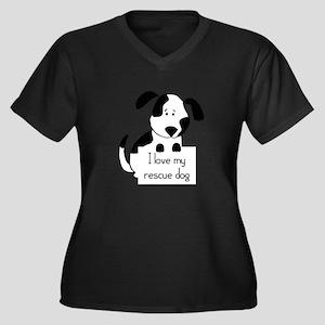 I love my rescue Dog Pet Humor Quote Plus Size T-S