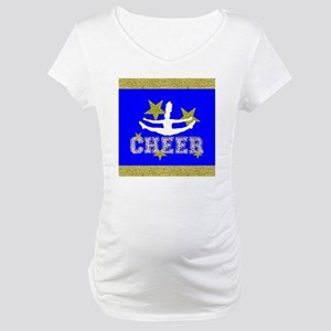 Blue and gold Cheerleader Maternity T-Shirt