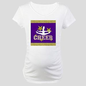 Purple and Gold Cheerleader Maternity T-Shirt