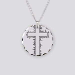 Electric silver cross Necklace Circle Charm
