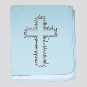 Electric silver cross baby blanket